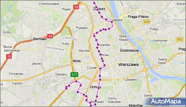 Autobus 157 - trasa CH REDUTA - GWIAŹDZISTA. ZTM Warszawa na mapie Targeo