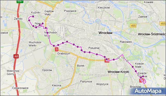 Autobus 134 - trasa KSIĘŻE WIELKIE - NOWY DWÓR (Pętla). MPKWroclaw na mapie Targeo