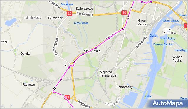 Autobus 61BIS - trasa  - Plac Zwycięstwa. ZDiTM Szczecin na mapie Targeo
