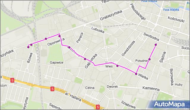 Autobus 406 - trasa Zajezdnia Grabiszyńska - DWORCOWA. MPKWroclaw na mapie Targeo
