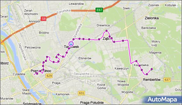 Rozkład jazdy autobusu 199 na przystanku TUŻYCKA 01. ZTM Warszawa na mapie Targeo