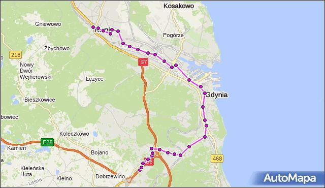Autobus R - trasa Starochwaszczyńska - Rumia Dworzec PKP. ZKMGdynia na mapie Targeo