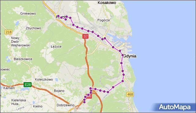 Autobus R - trasa Dąbrowskiego - Most - Kacze Buki. ZKMGdynia na mapie Targeo