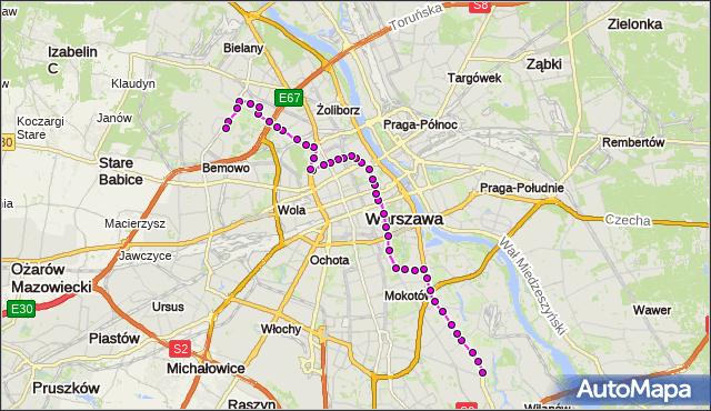 Autobus 180 - trasa WILANÓW - NOWE BEMOWO. ZTM Warszawa na mapie Targeo
