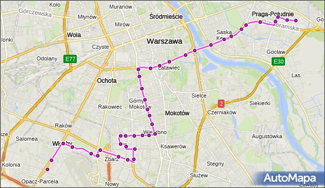 Autobus 182 - trasa OKĘCIE - WITOLIN. ZTM Warszawa na mapie Targeo