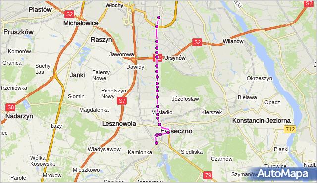 Autobus 709 - trasa PKP PIASECZNO PS - METRO WILANOWSKA. ZTM Warszawa na mapie Targeo