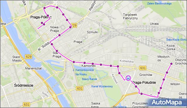 Rozkład jazdy autobusu 135 na przystanku SZPITAL GROCHOWSKI 02. ZTM Warszawa na mapie Targeo