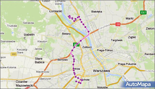 Autobus 186 - trasa TARCHOMIN - SZCZĘŚLIWICE. ZTM Warszawa na mapie Targeo