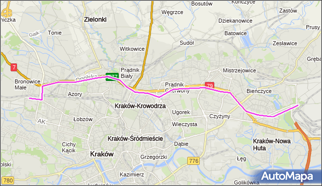 Autobus 172 - trasa Kombinat - Bronowice Małe. MPKKrakow na mapie Targeo