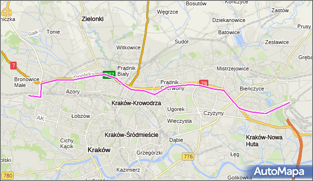 Autobus 172 - trasa Bronowice Małe - Kombinat. MPKKrakow na mapie Targeo