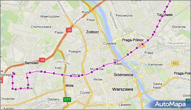 Autobus 190 - trasa CH MARKI MK - OS.GÓRCZEWSKA. ZTM Warszawa na mapie Targeo