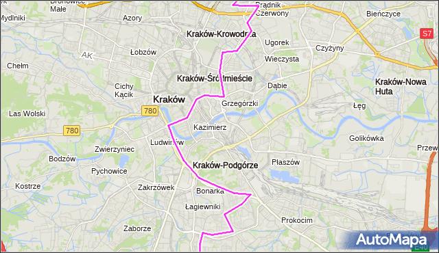 Autobus 184 - trasa Os.Kurdwanów - Prądnik Czerwony. MPKKrakow na mapie Targeo