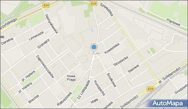 Warszawa, 11 Listopada, mapa Warszawy