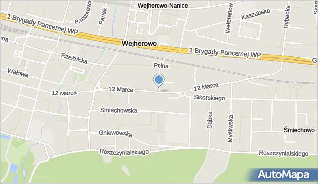 Wejherowo, 12 Marca, mapa Wejherowo
