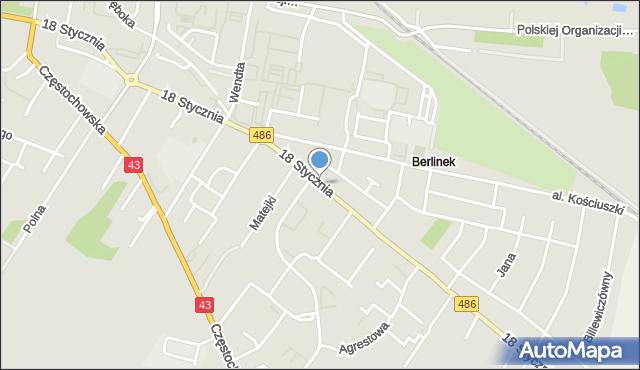 Wieluń, 18 Stycznia, mapa Wieluń