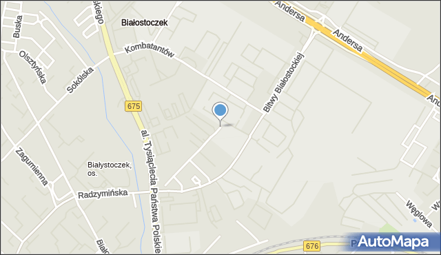 Białystok, 1 Armii WP, mapa Białegostoku