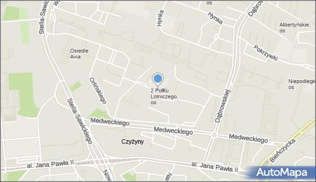 Kraków, 2 Pułku Lotniczego, os., mapa Krakowa