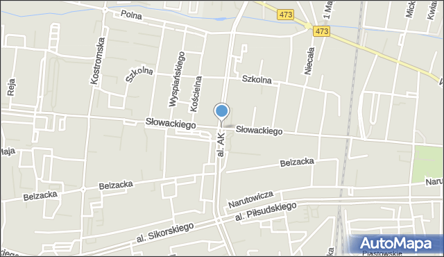 Piotrków Trybunalski, Aleja Armii Krajowej, mapa Piotrków Trybunalski