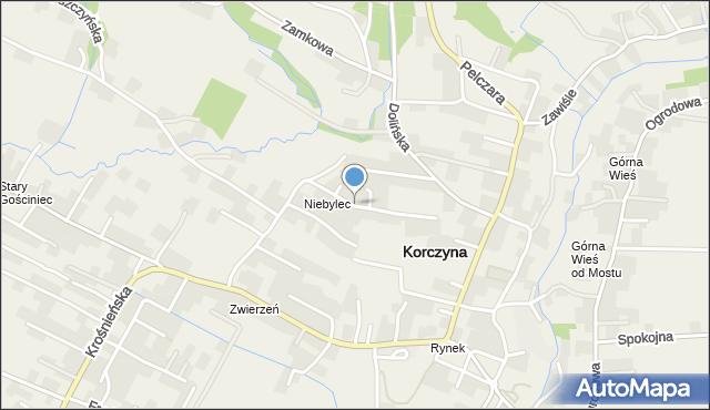 Korczyna, Brzozowa, mapa Korczyna