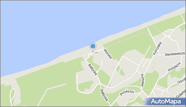 Krynica Morska, Bulwar Słoneczny, mapa Krynica Morska