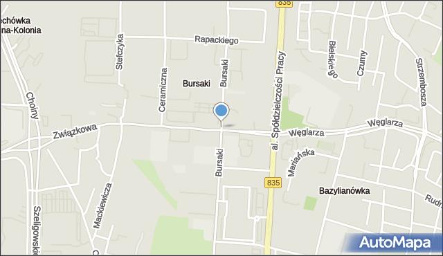 Lublin, Bursaki, mapa Lublina