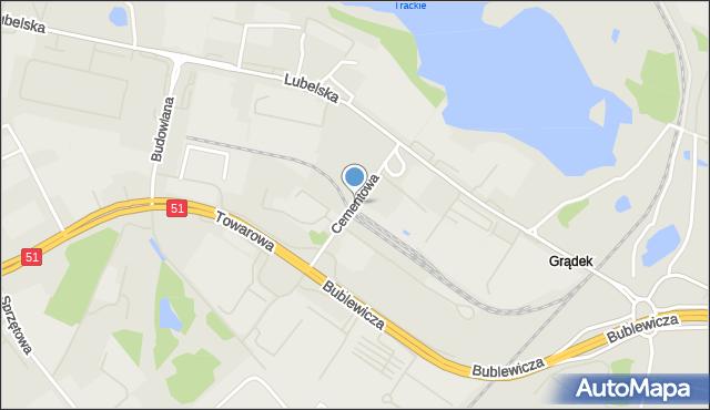 Olsztyn, Cementowa, mapa Olsztyna