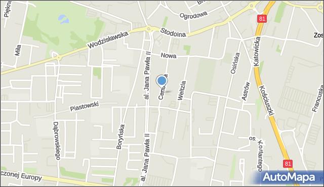 Żory, Centralna, mapa Żor