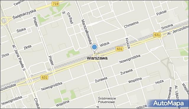 Warszawa, Dmowskiego Romana, rondo, mapa Warszawy