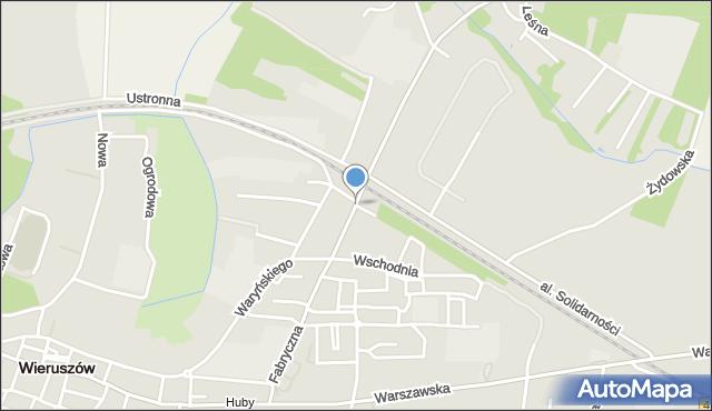 Wieruszów, Fabryczna, mapa Wieruszów