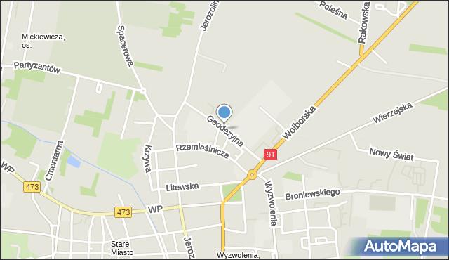 Piotrków Trybunalski, Geodezyjna, mapa Piotrków Trybunalski