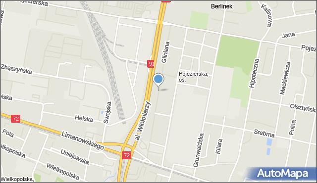 Łódź, Gliniana, mapa Łodzi
