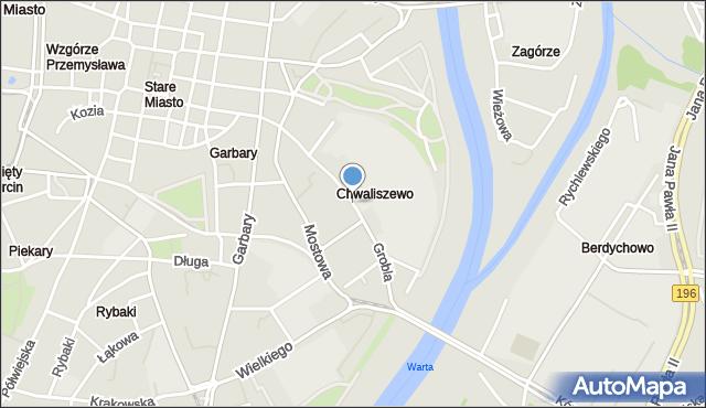 Poznań, Grobla, mapa Poznania