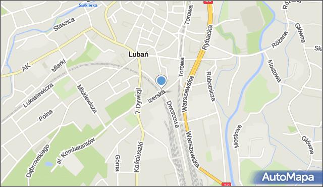 Lubań, Izerska, mapa Lubań