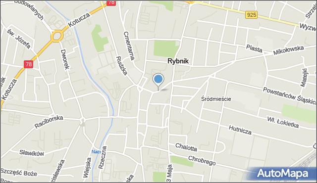 Rybnik, Jana III Sobieskiego, mapa Rybnika