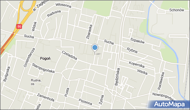 Sosnowiec, Kasztanowa, mapa Sosnowca