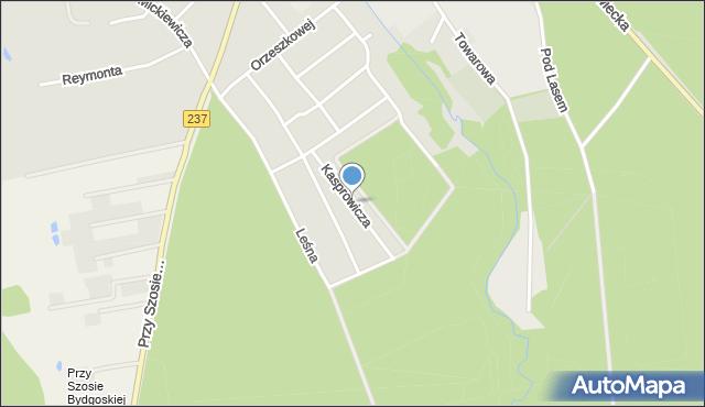 Tuchola, Kasprowicza, mapa Tuchola