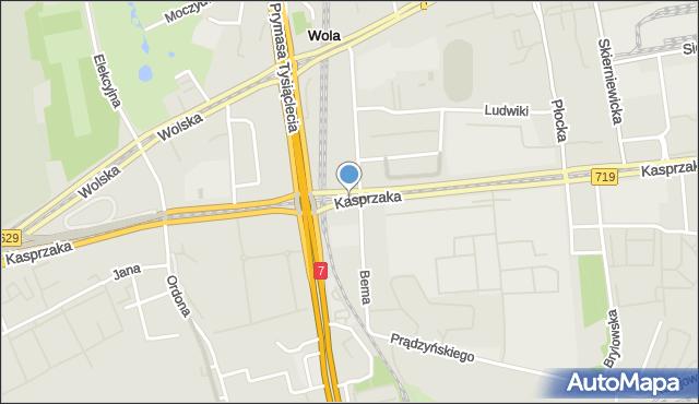 Warszawa, Kasprzaka Marcina, mapa Warszawy