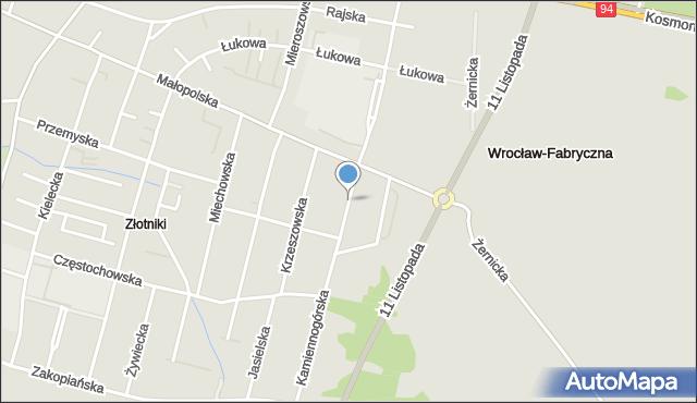 Wrocław, Kamiennogórska, mapa Wrocławia
