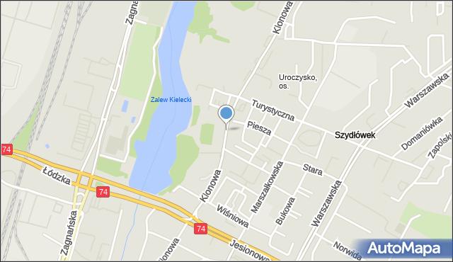 Kielce, Klonowa, mapa Kielc