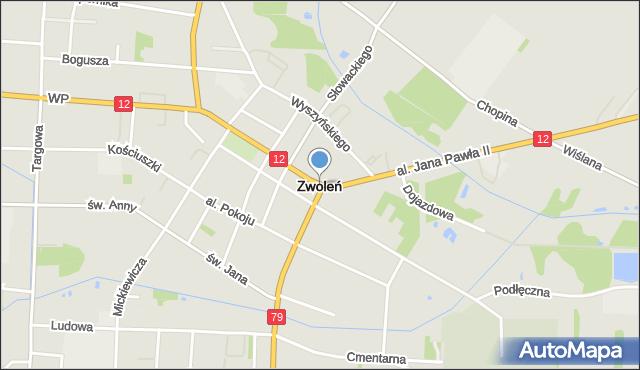 Zwoleń, Klin, mapa Zwoleń