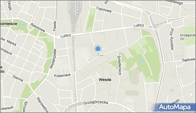 Kraków, Kopernika Mikołaja, mapa Krakowa