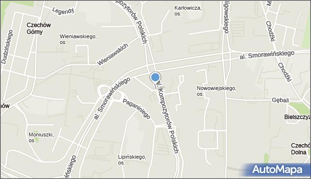 Lublin, Kompozytorów Polskich, al., mapa Lublina