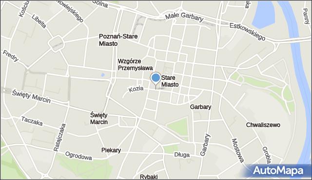 Poznań, Kozia Ulica, mapa Poznania