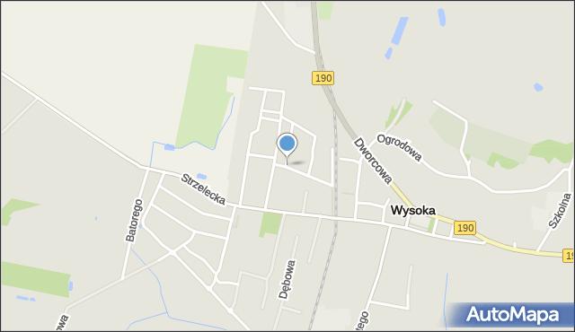 Wysoka, Kościuszki Tadeusza, mapa Wysoka