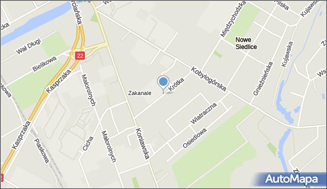 Gorzów Wielkopolski, Krótka, mapa Gorzów Wielkopolski