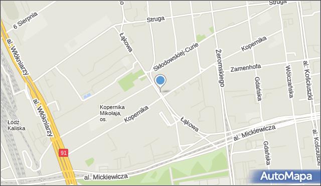 Łódź, Łąkowa, mapa Łodzi