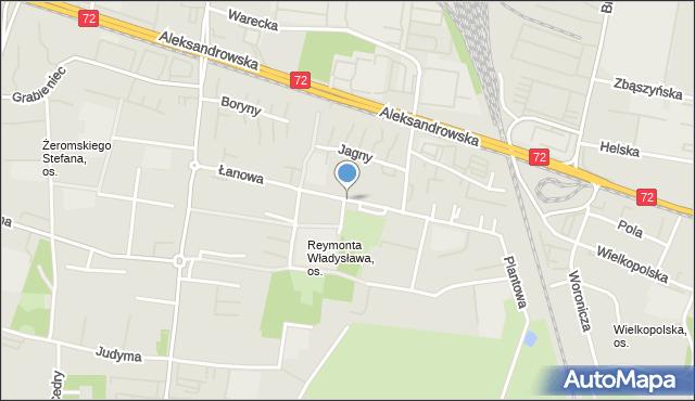 Łódź, Łanowa, mapa Łodzi