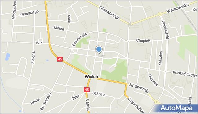 Mapa Polski Targeo, Wieluń, Legionów, pl., mapa Wieluń