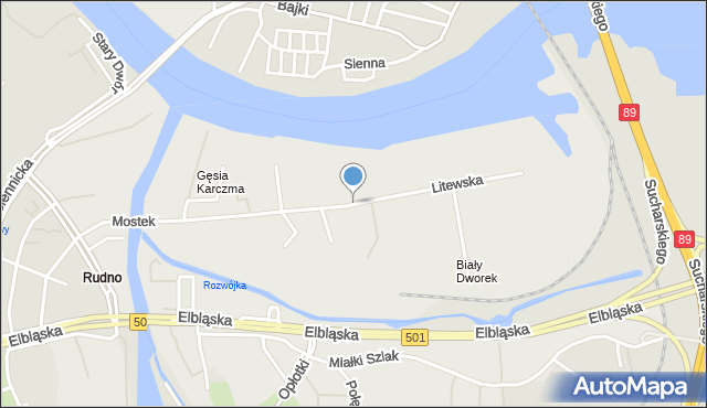 Gdańsk, Litewska, mapa Gdańska