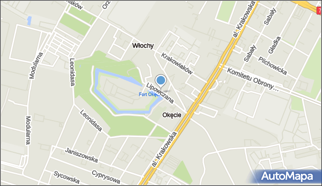 Warszawa, Lipowczana Pawła, mapa Warszawy